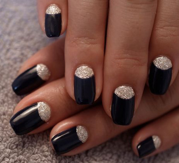 Tremendous Black With Silver Glitter Accent Nail Art