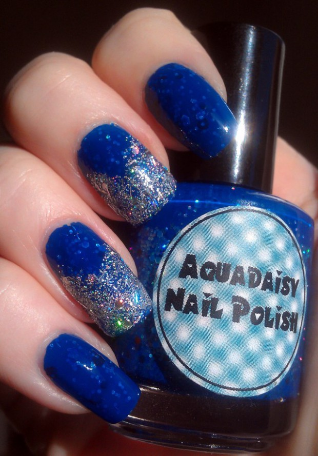Tremendous Blue Nail With Sparkling Tip Design