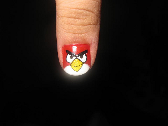 Tremendous Design Angry Bird Nail Art Design