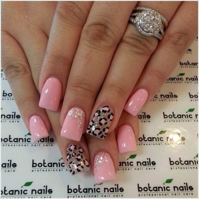 Tremendous Pink And Tiger Type Print Accent Nail Design