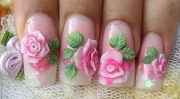 Tremendous Pink Color Flower 3D Acrylic Nail Art