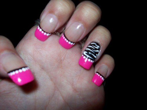 Tremendous Pink Nail Tip With Black Stripes Pink Acrylic Nail Art Design