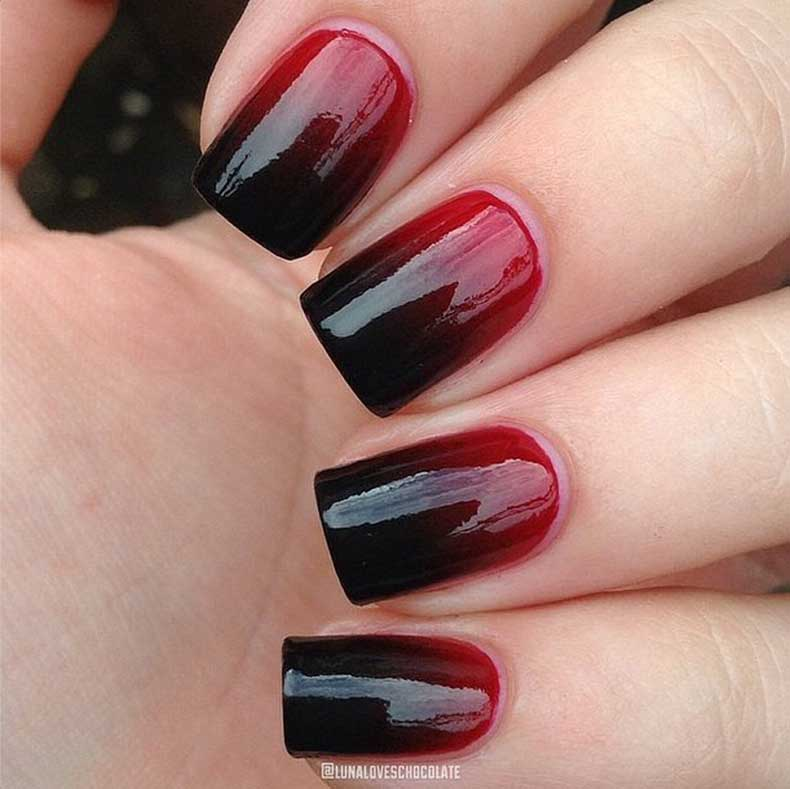 Tremendous Red And Black Nails With Flat Cut Nail Design