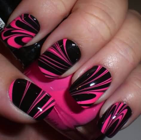 Trending Black And White Nails With Pink Coating