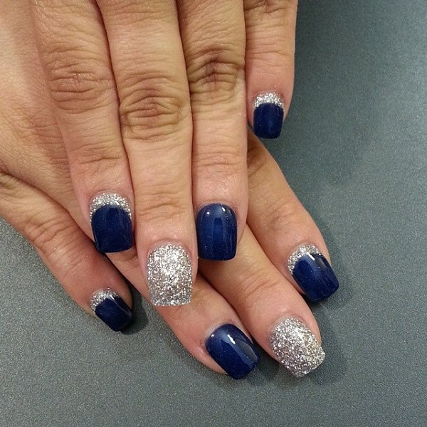 Trending Blue Nail With Silver Nail Paint