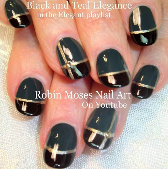 Trendy Black Nail Art With Golden Shades