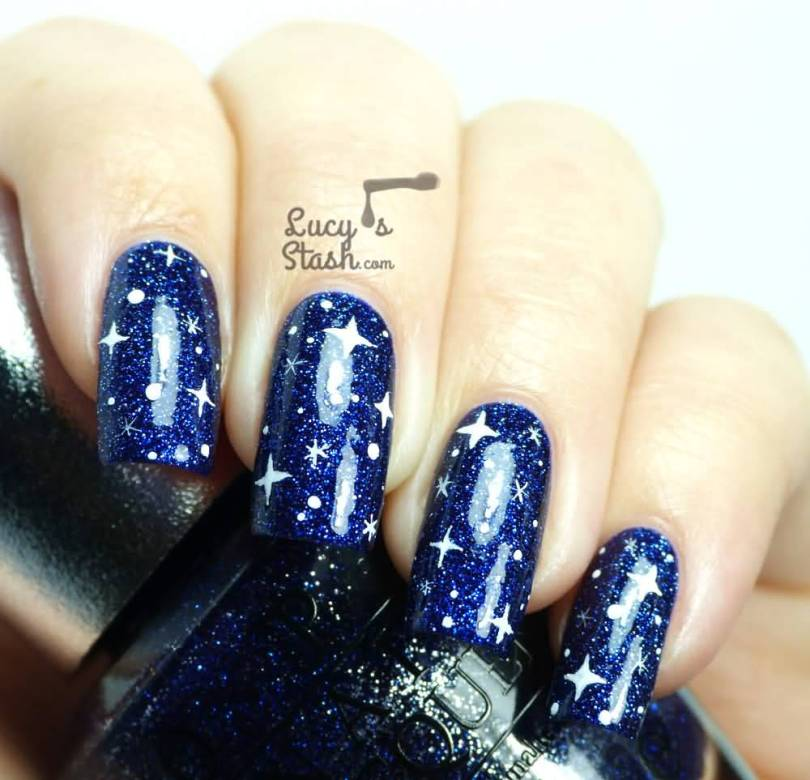 Trendy Blue Nail With Sparkling Nail Paint