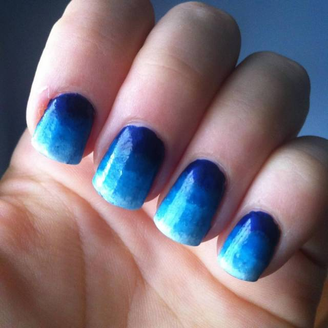 Trendy Blue Nails With Dark To Light Shading