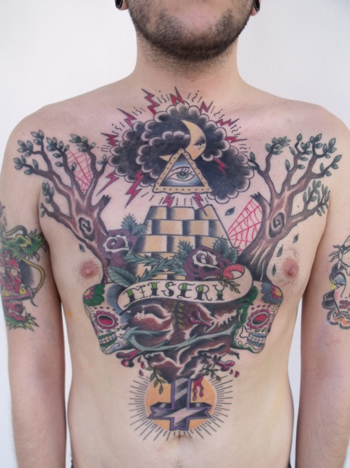 Trendy Eye Pyramid Tattoo On Chest For Boys