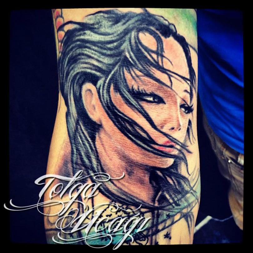 Trendy Geisha Tattoo Design For Boys