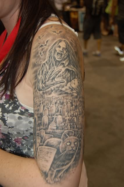 Trendy Graveyard Tattoo On Sleeve For Women