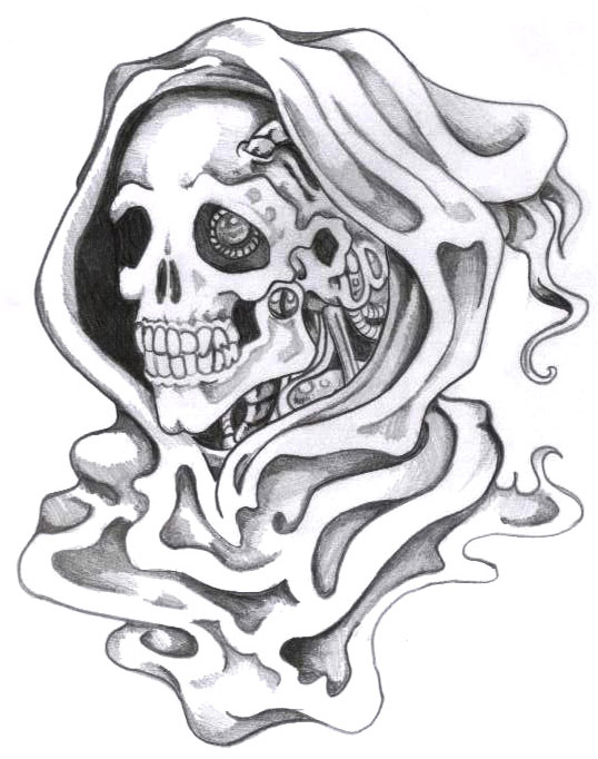 Trendy Grim Reaper Death Tattoo Sample For Boys