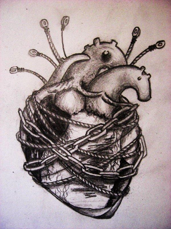 Trendy Heart Strings Tattoo Design For Boys