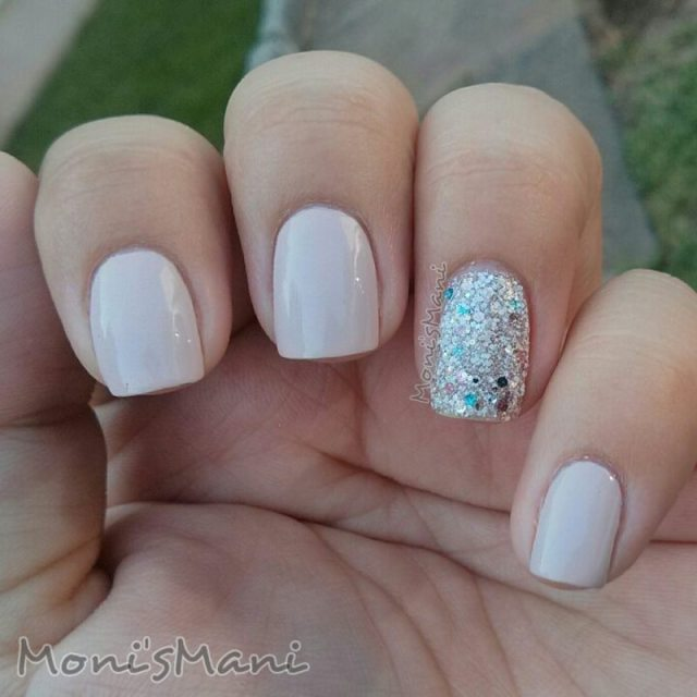 Ultimate Baby pink With Silver Sparkle Glitter Accent Nail Art