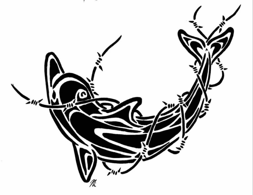 Ultimate Barbed Wire Dolphin Tattoo Design For Girls