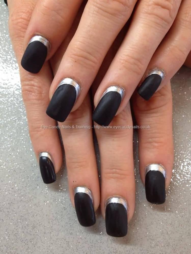 Ultimate Black And Silver Color Black Acrylic Nail Art Black Acrylic Nails