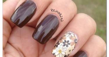Ultimate Brown Flower Accent Nail Art