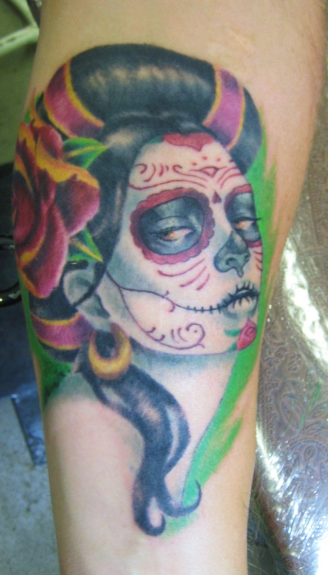 Ultimate Day Of The Dead Girl Tattoo Design For Boys