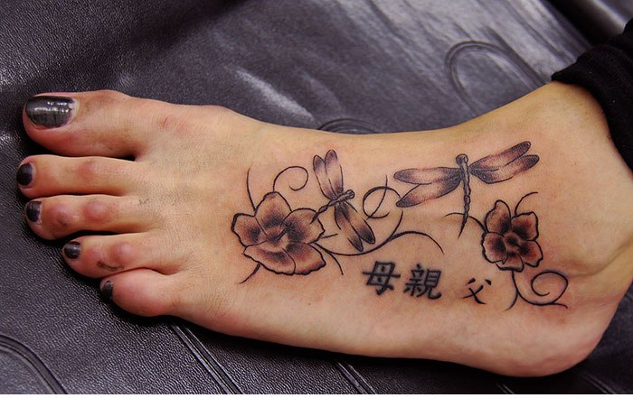 Ultimate Dragonfly Foot Tattoo Design For Girls