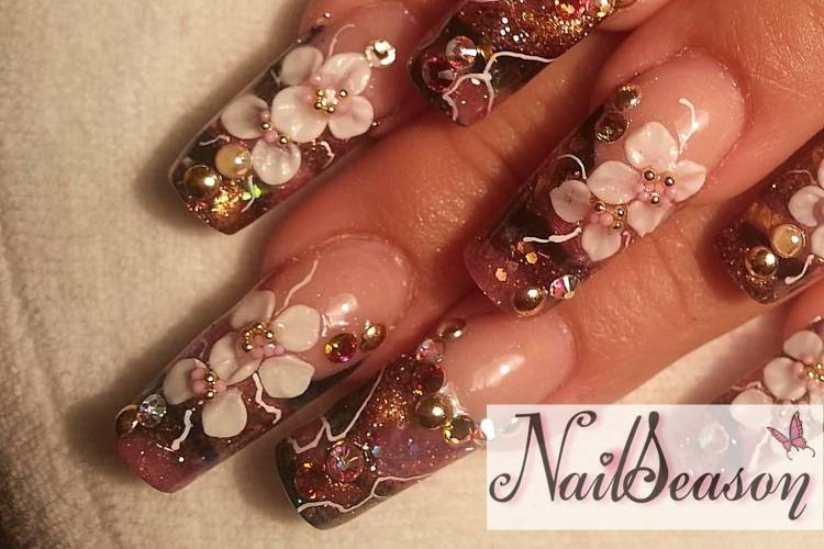 Ultimate Flower With Diamond 3D Rose Flower Nail Art