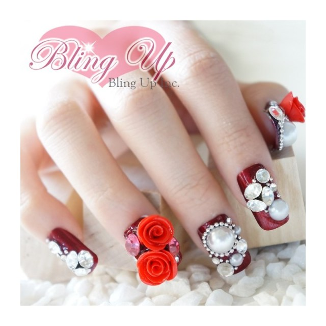 Ultimate Pearl And Rose 3D Rose Flower Nail Art