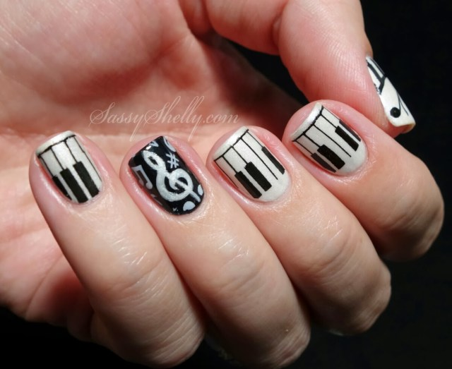 Ultimate Piano Keys Design In Black And White Nail Art