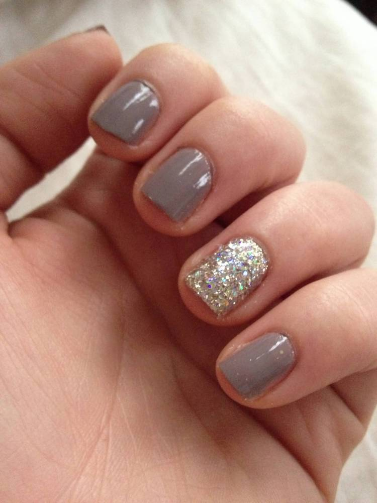 Ultimate Silver Color With Sparkle Accent Nail Design