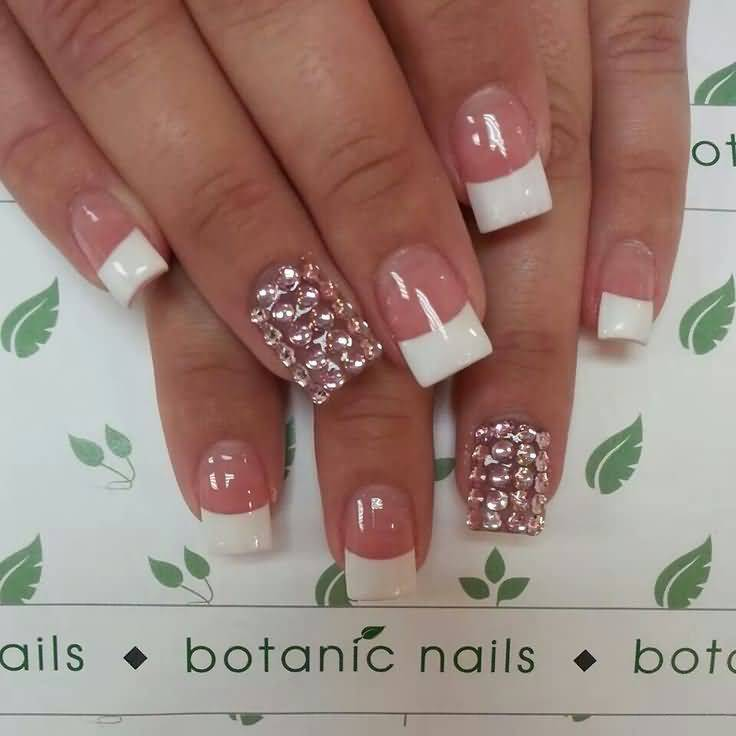 Ultimate White Tip With Rhinestone Accent Nail Art