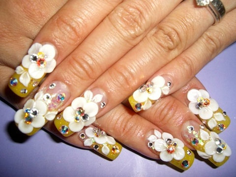 Ultimate Yellow Paint With White Ink Flower 3D Rose Flower Nail Art