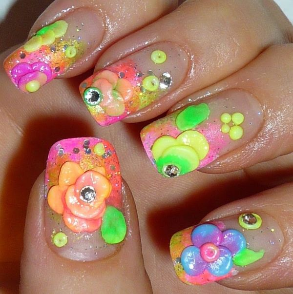 Very Nice Different Color Flower 3D Rose Flower Nail Art 3D Nails Art
