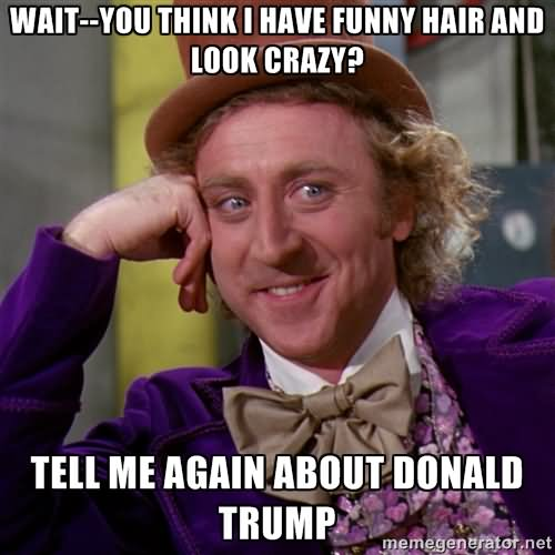 Wait You Think I Have Funny Hair And Look Crazy Tell Me Again About Donald Trump Funny Meme