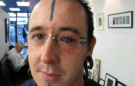 Weird Extreme Eyeball Tattoo Design For Boys