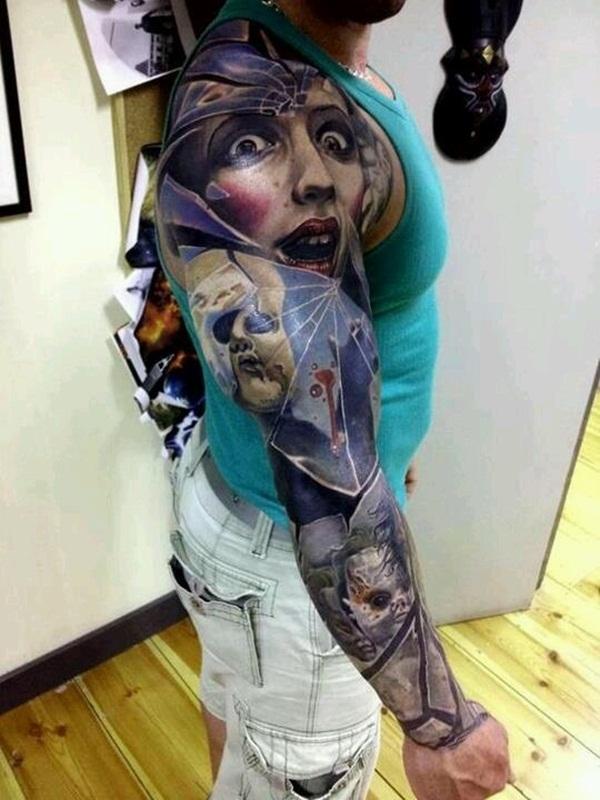 Weird Hyper Realistic Horror Tattoo On Sleeve For Boys