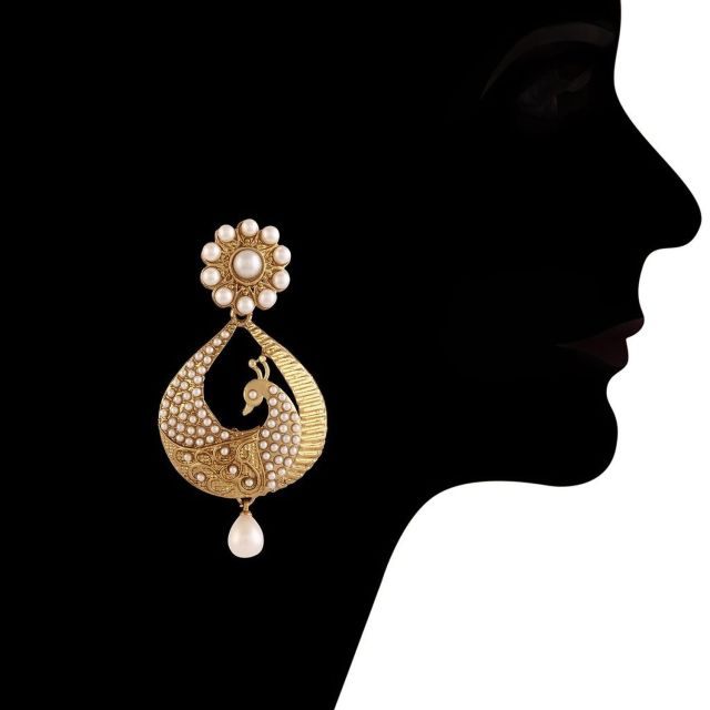 White Gold Plated Peacock Shaped Pearl Dangle & Drop Earring 03