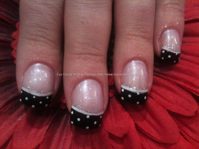 Wonderful Black And White Polka Dot Nail Art Designs On Tips