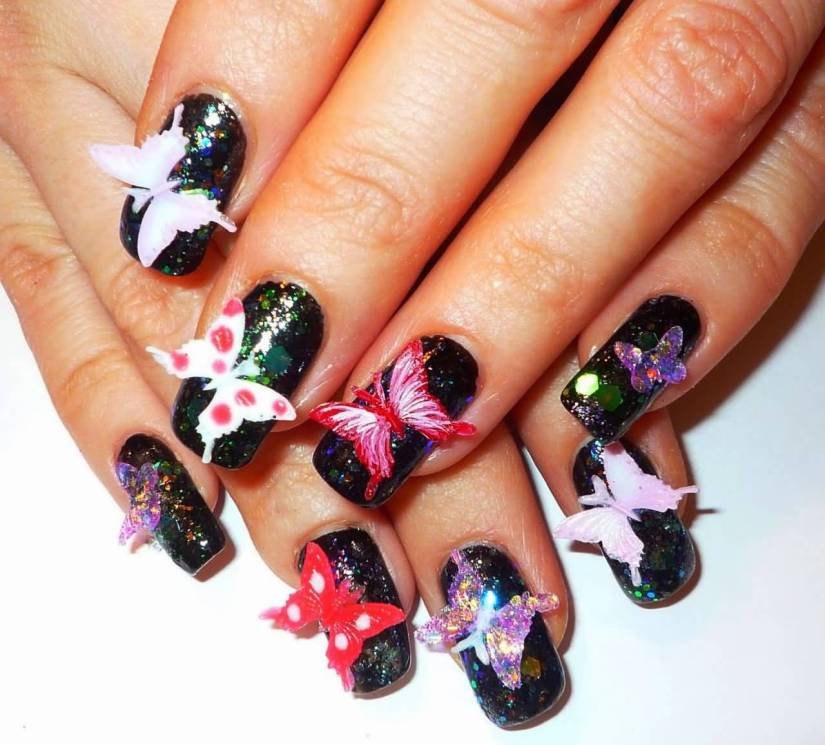 Wonderful Black Back Ground With Butterfly 3D Rose Flower Nail Art