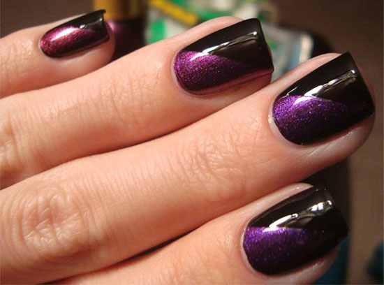 Wonderful Black Nail Art Design With Purple Color Nail