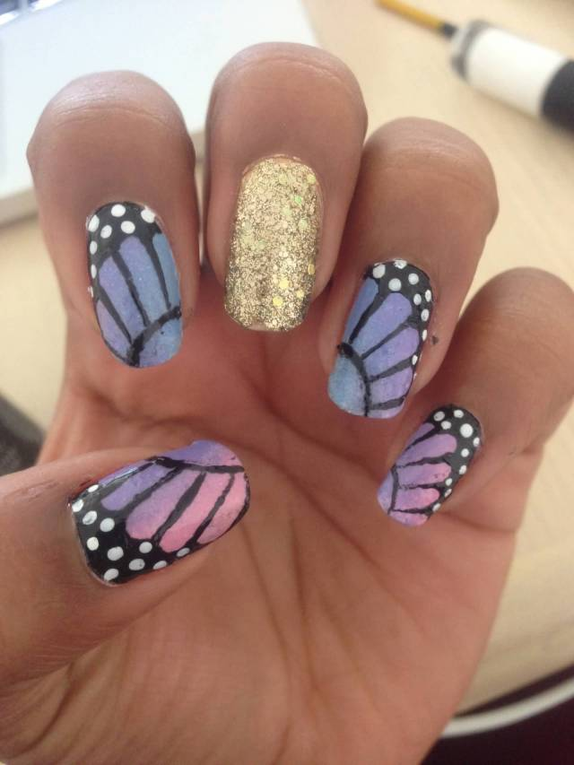 Wonderful Butterfly Nail With Feather Design And Golden Nail