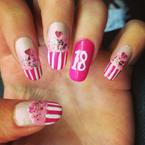 Wonderful Pink Lining With Heart Birthday Nail Art