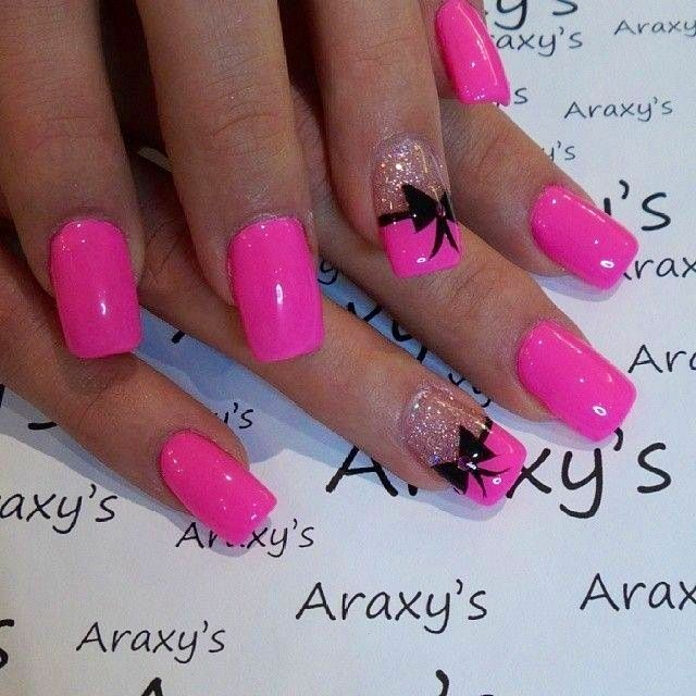 Wonderful Pink Nail Paint With Black Bow Acrylic Design