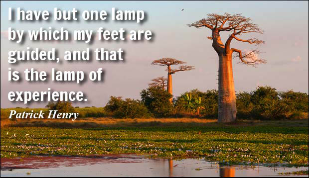 experience sayings i have but one lamp by which my feet are guided and that is the lamp of experience