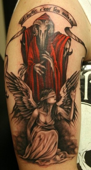 Attractive Hell Tattoo On Arm For Boys