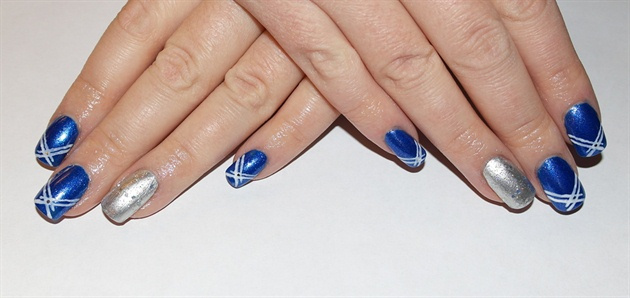 Awesome Blue And Silver Nails