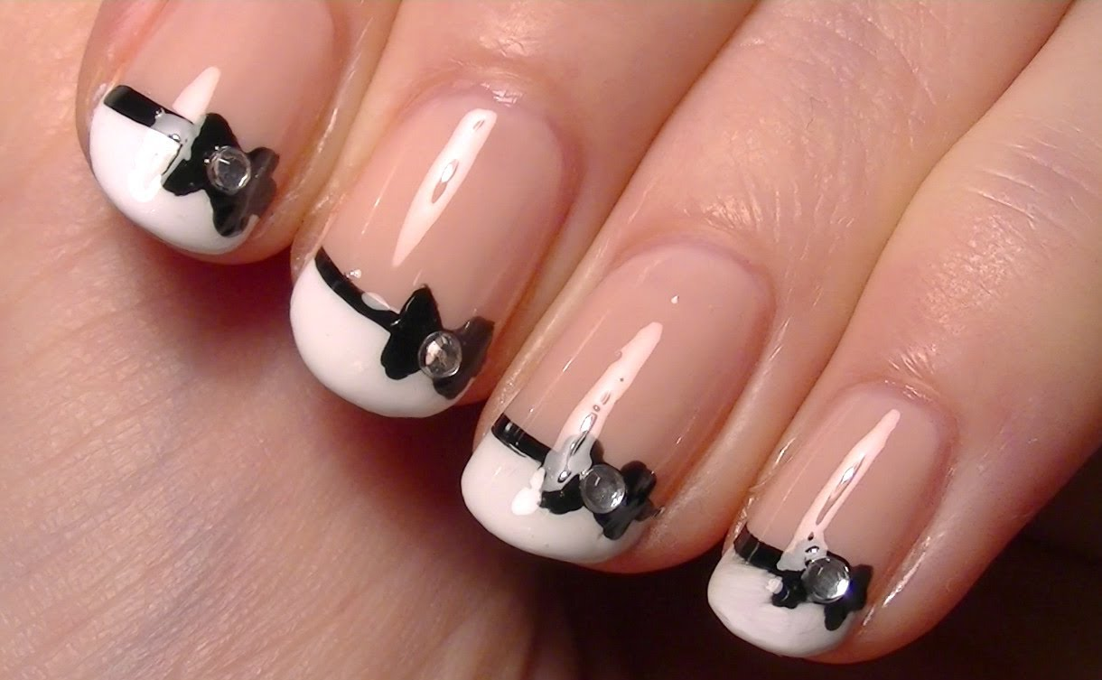 Awesome Bow Nails With Crystal