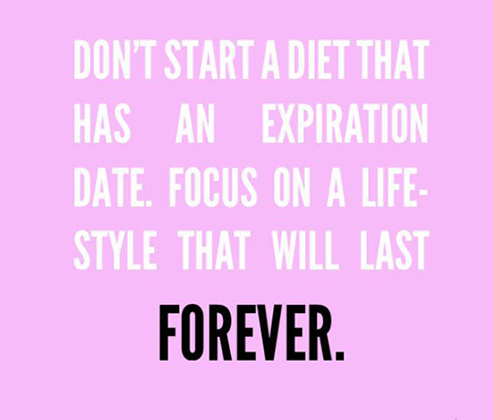 Diet sayings don't start a diet that has an expiration date focus on