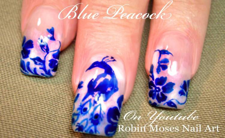 Fabulous Blue Nails With Woods Design