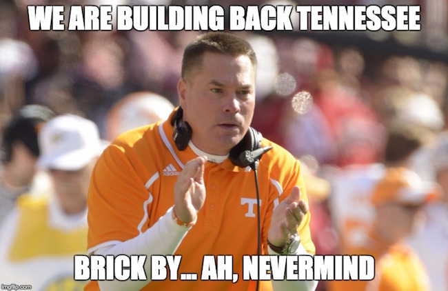 Football Memes We are bulding back tennesse brick by