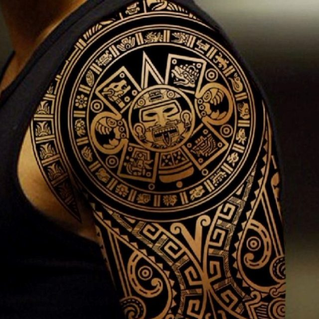 Great Aztec Tattoo on shoulder for Men