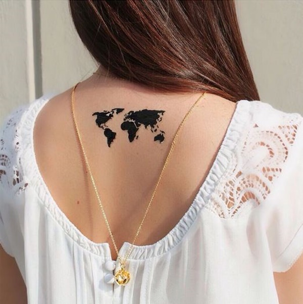 Great World Map Tattoo On Back For Girls