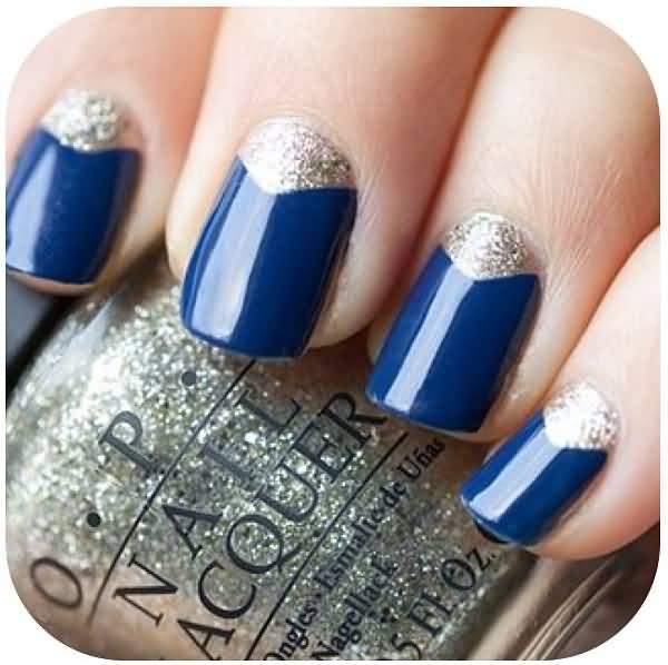 Half Moon Blue And Silver Nails